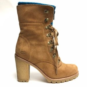 UGG Fabrice Heeled Lace-up Suede Boots